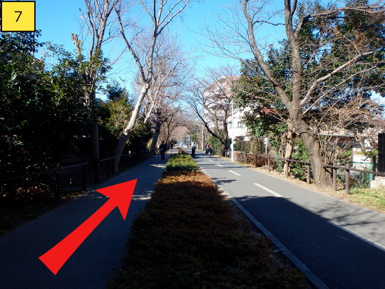 ⑦Go straight forward about 100m.※At right side, there are many bicycle users because it is a bicycle path, so please be care when walking.